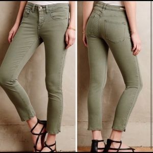 Pilcro | Anthro Green Superscript Skinny Jeans